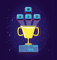 Cup trophy video gamer retro with keyboard vector