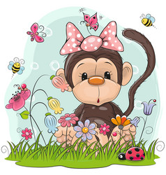 Cute cartoon monkey on a meadow vector