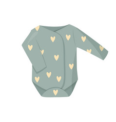 Cute green baby clothes isolated vector