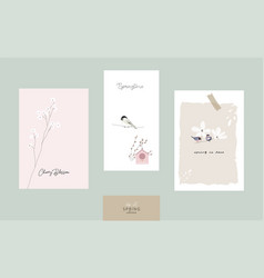 cute spring postcards with hand drawn springtime vector image