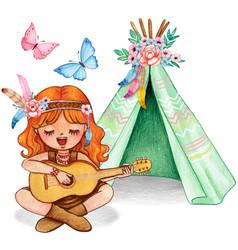 Cute watercolor ginger girl playing guitar vector