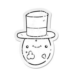 distressed sticker of a cartoon posh egg vector image