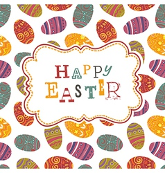easter greeting on seamless eggs pattern vector image