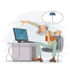 Elderly man at a computer vector