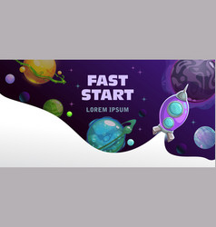 Fast start concept space theme horizontal banner vector