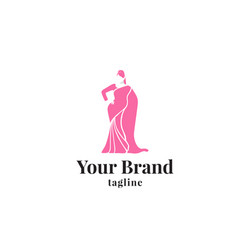 feminine indian clothes logo template vector image