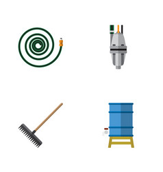 Flat icon farm set of harrow pump hosepipe and vector