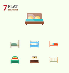 Flat set of furniture bed cot and other vector