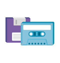 Floppy with cassette nineties retro style vector