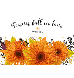 Floral card design autumn bright orange gerbera vector
