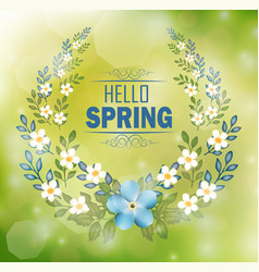 floral frame with text hello spring vector image vector image