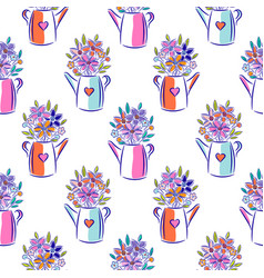 flowers in watering can bright colors seamless vector image