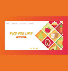 food landing page meal vegetables fruits and fish vector image