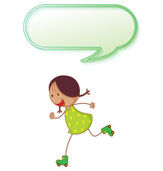 girl playing roller skate with speech balloon vector image