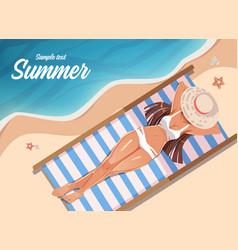 Girl sunbathing on a beach mat on sea summer vector
