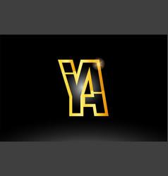 gold black alphabet letter ya y a logo vector image