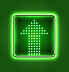 Green arrow neon icon vector