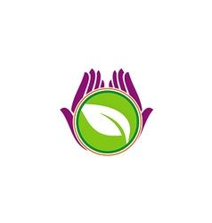 Green leaf hand vegetarian beauty logo vector