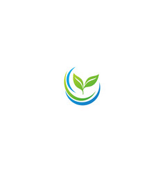 green leaf organic plant nature logo vector image