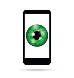 green realistic eyeball on a cell mobile phone vector image