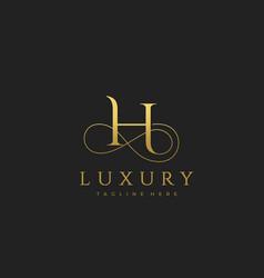 h luxury letter logo design vector image