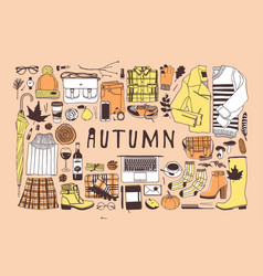 hand drawn autumn pattern fall background vector image
