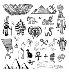 hand drawn sketch of egypt symbols vector image