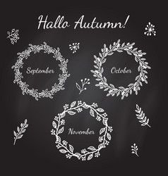 hand drawn vintage autumn wreaths with branches vector image