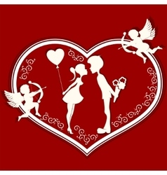 Heart with a romantic couple and Cupid vector