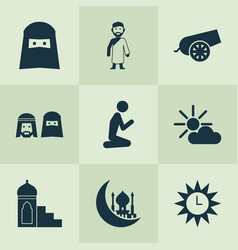 Holiday icons set with prayer azan asr and other vector