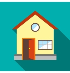 House with open door icon flat style vector