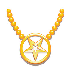 Inverted five-pointed gold star inside circle vector