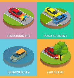 isometric pedestrian hit road accident drowned vector image
