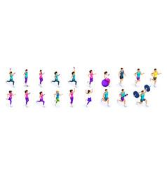 isometric running people large set of athletes vector image