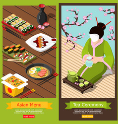 Isometric sushi bar banners vector