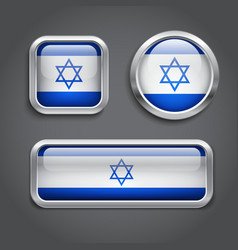 Israel flag glass buttons vector image