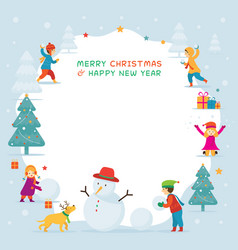 Kids or children playing snow frame vector