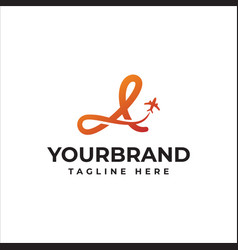 Letter a air travel logo design template vector