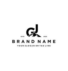 Letter gj mountain logo design vector