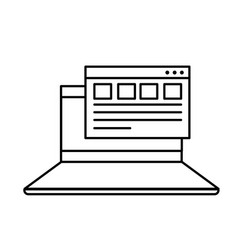 Line laptop with business virtual document vector