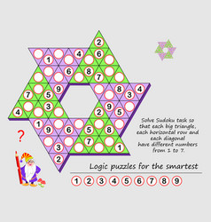 Logic puzzle game for children and adults solve vector