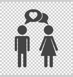 man and woman with heart icon on isolated vector image