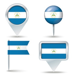 Map pins with flag of Nicaragua vector image
