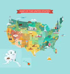 Map united states vector