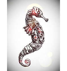mechanical seahorse hand drawn vector image