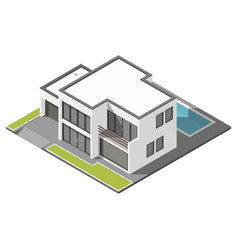 Modern two-story house with flat roof sometric vector image vector image