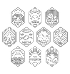 Mountain badges linear 1 vector