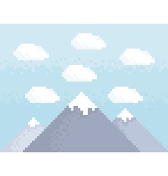 Mountain pixel art vector