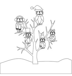 owls family on tree coloring page vector image