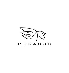 pegasus unicorn horse wing logo icon vector image